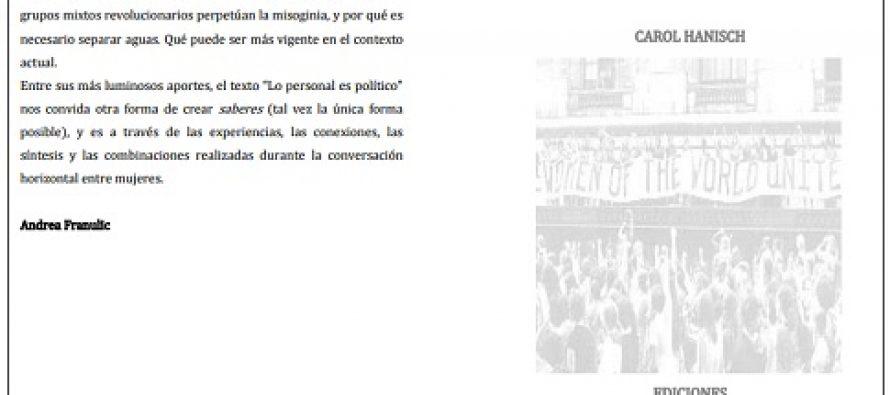 Lo personal es político de Carol Hanisch, en español