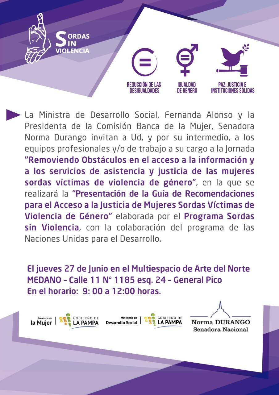 """""""Removiendo Obstáculos en el acceso a la información y a los servicios de asistencia y justicia de las mujeres sordas víctimas de violencia de género"""""""
