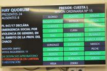 Por unanimidad, sancionaron la Ley de Emergencia Social por Violencia de Género en el Chaco