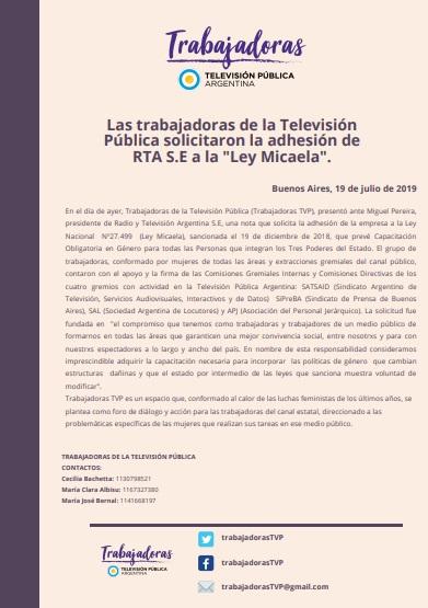 Trabajadoras Televisión Pública, una nueva colectiva en acción