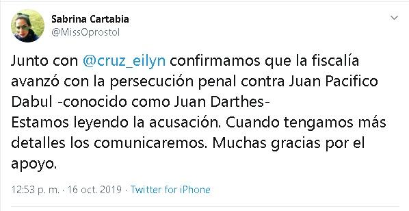 Caso Thelma Fardin: la fiscalía de Nicaragua acusó formalmente a Juan Darthés por violación y pidió su captura