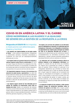 COVID-19 en América Latina y el Caribe: cómo incorporar a las mujeres y la igualdad de género en la gestión de la respuesta a la crisis