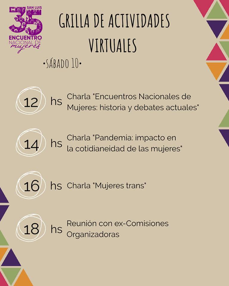 Hacia el 35º Encuentro Nacional de Mujeres - San Luis. Grilla de actividades