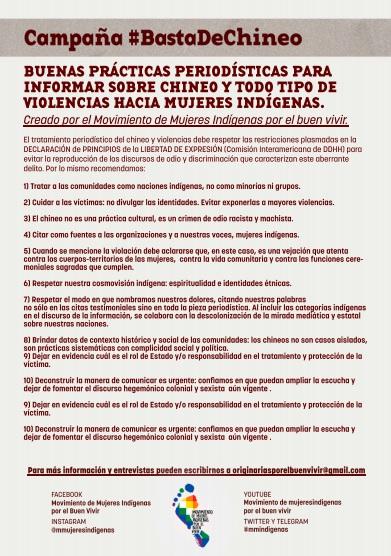 Buenas prácticas periodísticas para informar sobre chineo y todo tipo de violencias hacia mujeres indígenas