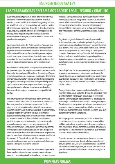 Declaración de las representantes de las Centrales Sindicales de la Argentina